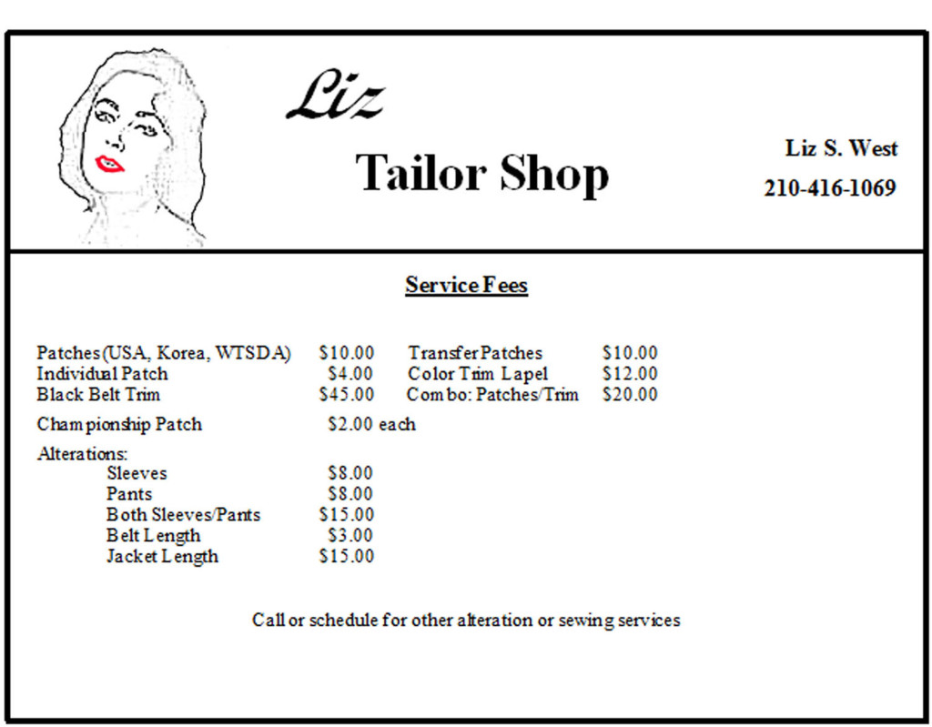 Liz Tailor Shop Sewing Fees 2